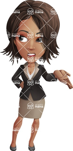 African American female with black coat vector character pack of poses - Kim the Office Lady - Roll Eyes