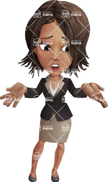African American female with black coat vector character pack of poses - Kim the Office Lady - Lost