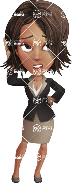 African American female with black coat vector character pack of poses - Kim the Office Lady - Confused