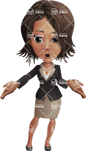 African American female with black coat vector character pack of poses - Kim the Office Lady - Oops