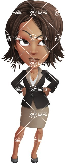 African American female with black coat vector character pack of poses - Kim the Office Lady - Bored2