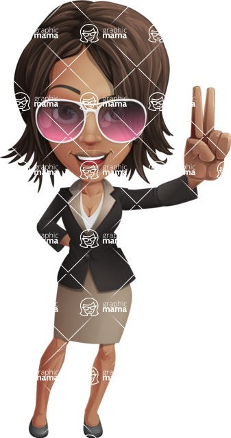 African American female with black coat vector character pack of poses - Kim the Office Lady - Sunglasses