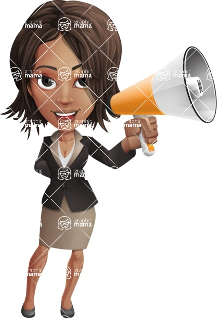 African American female with black coat vector character pack of poses - Kim the Office Lady - Loudspeaker