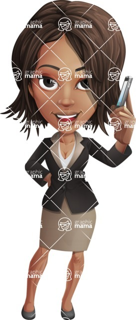 African American female with black coat vector character pack of poses - Kim the Office Lady - Support