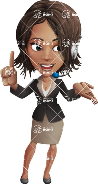 African American female with black coat vector character pack of poses - Kim the Office Lady - Support2