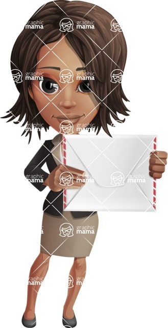 African American female with black coat vector character pack of poses - Kim the Office Lady - Letter