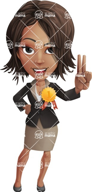 African American female with black coat vector character pack of poses - Kim the Office Lady - Ribbon