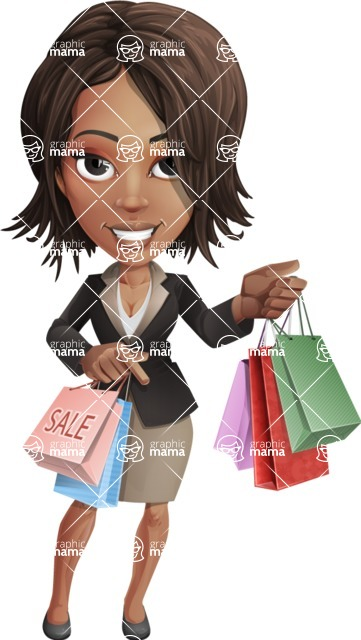 African American female with black coat vector character - Sale