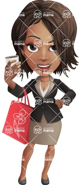 African American female with black coat vector character pack of poses - Kim the Office Lady - Sale2