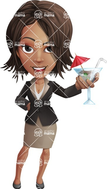 African American female with black coat vector character pack of poses - Kim the Office Lady - Cocktail