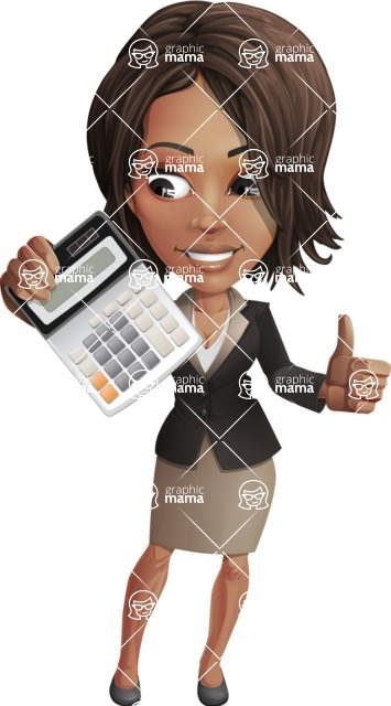 African American female with black coat vector character pack of poses - Kim the Office Lady - Calculator