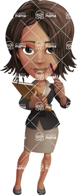 African American female with black coat vector character pack of poses - Kim the Office Lady - Book1