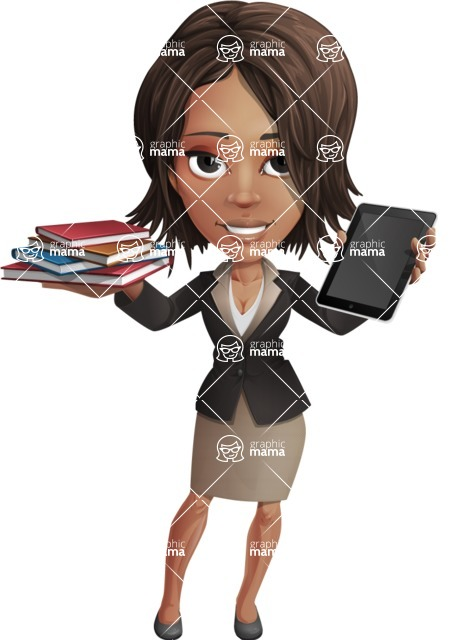African American female with black coat vector character pack of poses - Kim the Office Lady - Books and iPad