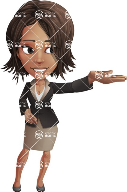 African American female with black coat vector character pack of poses - Kim the Office Lady - Showcase
