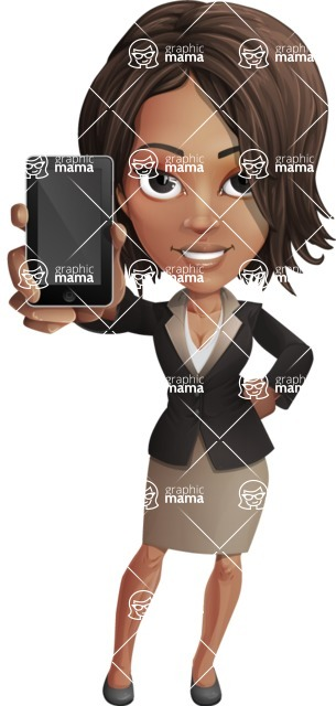 African American female with black coat vector character pack of poses - Kim the Office Lady - iPhone