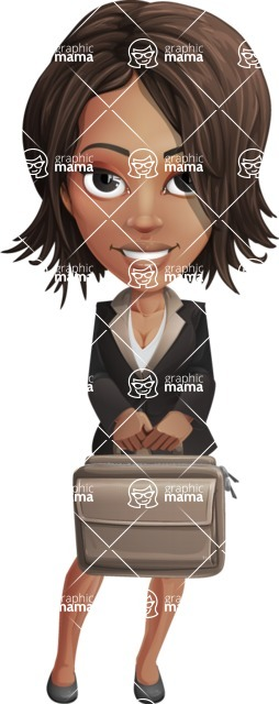 African American female with black coat vector character pack of poses - Kim the Office Lady - Briefcase3