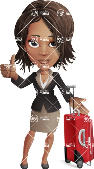 African American female with black coat vector character - Travel1