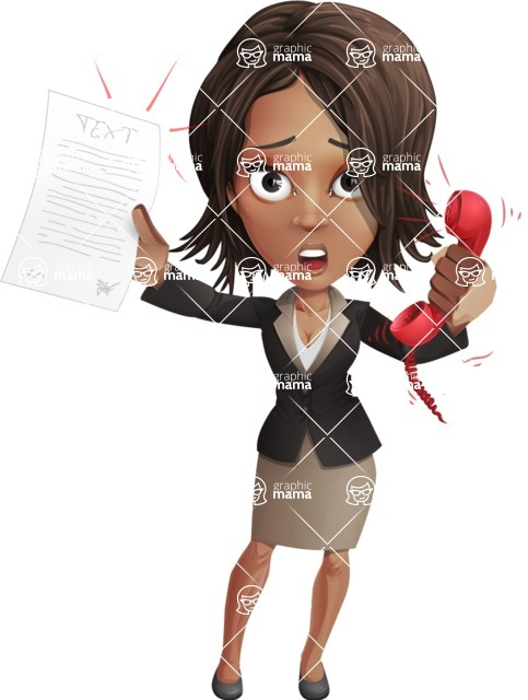 African American female with black coat vector character - Office Fever
