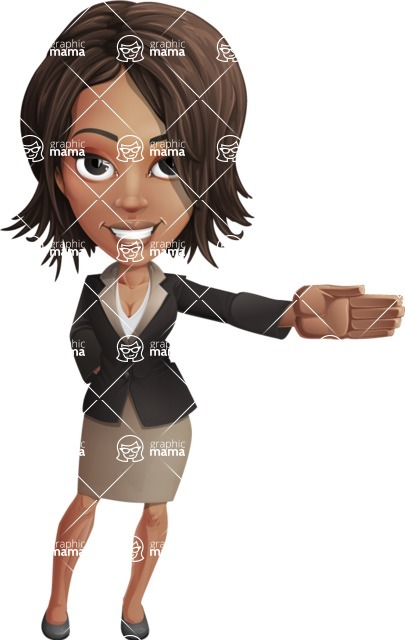 African American female with black coat vector character pack of poses - Kim the Office Lady - Show