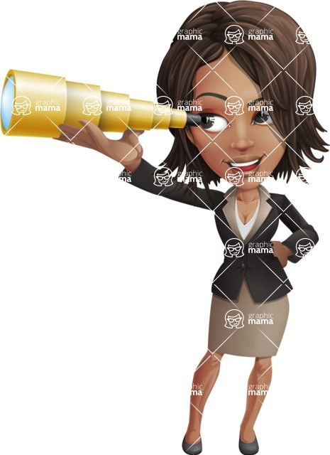 African American female with black coat vector character pack of poses - Kim the Office Lady - Telescope