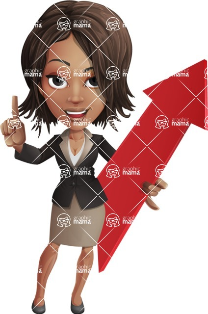 African American female with black coat vector character - Pointer