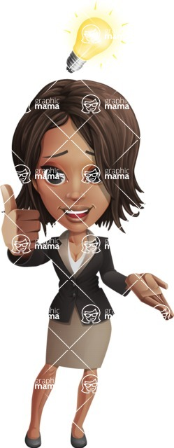 African American female with black coat vector character pack of poses - Kim the Office Lady - Idea1