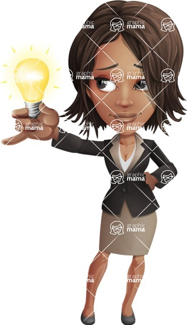 African American female with black coat vector character pack of poses - Kim the Office Lady - Idea2
