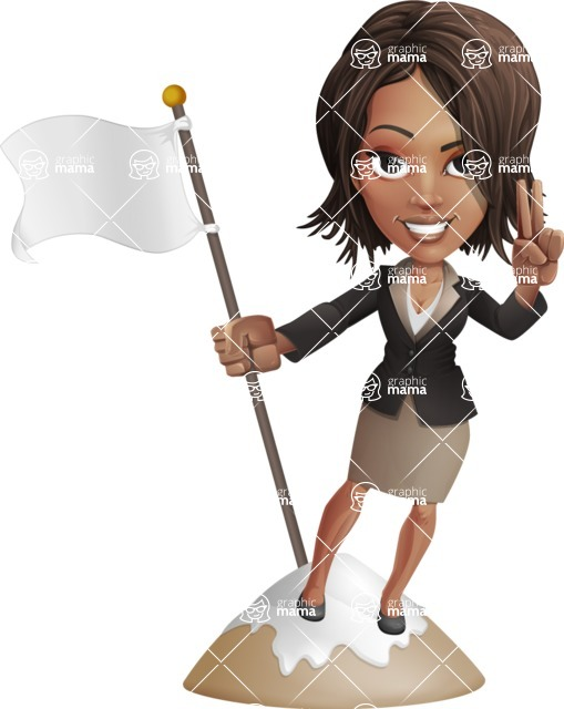African American female with black coat vector character pack of poses - Kim the Office Lady - On Top