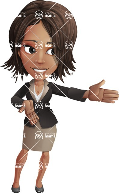 African American female with black coat vector character pack of poses - Kim the Office Lady - Show2