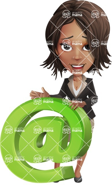 African American female vector pack - Kim the Office Lady - Email
