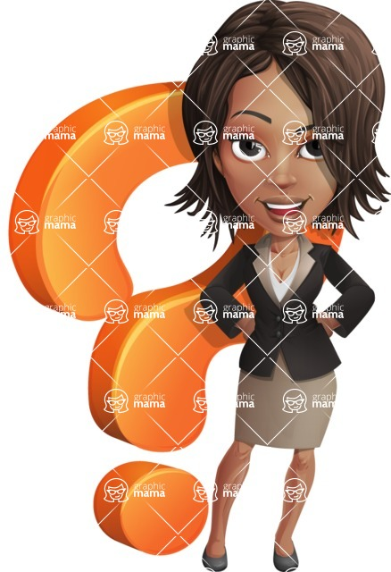 African American female with black coat vector character pack of poses - Kim the Office Lady - Question
