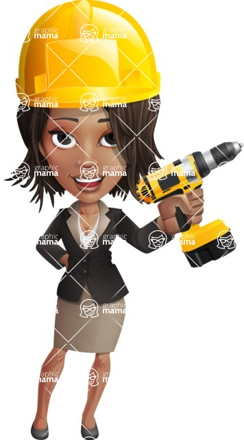 African American female with black coat vector character pack of poses - Kim the Office Lady - Under Construction2