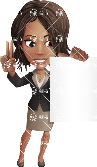African American female with black coat vector character pack of poses - Kim the Office Lady - Sign2