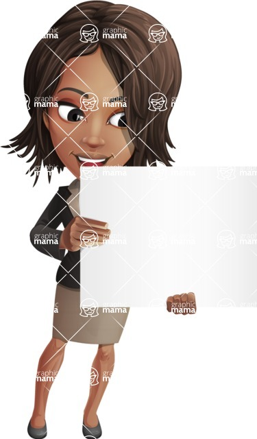 African American female with black coat vector character pack of poses - Kim the Office Lady - Sign4