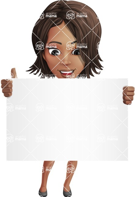 African American female with black coat vector character pack of poses - Kim the Office Lady - Sign6