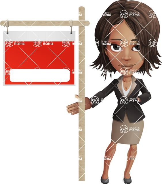 African American female vector pack - Kim the Office Lady - Sign9