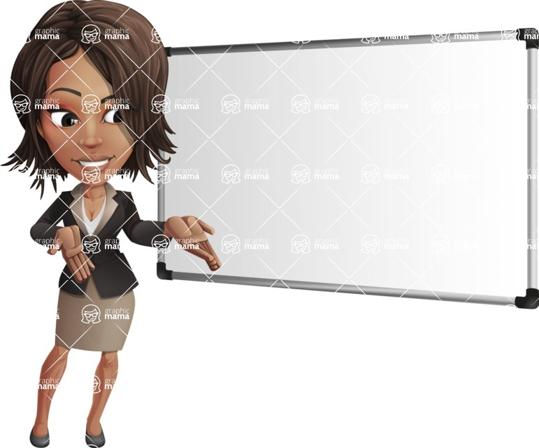 African American female with black coat vector character pack of poses - Kim the Office Lady - Presentation3