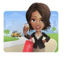 African American female with black coat vector character pack of poses - Kim the Office Lady - Shape1