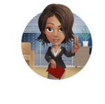 African American female with black coat vector character pack of poses - Kim the Office Lady - Shape2