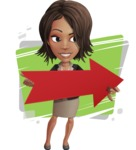 African American female with black coat vector character pack of poses - Kim the Office Lady - Shape5