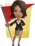 African American female with black coat vector character pack of poses - Kim the Office Lady - Shape6