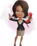 African American female with black coat vector character pack of poses - Kim the Office Lady - Shape8