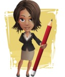 African American female with black coat vector character pack of poses - Kim the Office Lady - Shape11