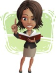 African American female with black coat vector character pack of poses - Kim the Office Lady - Shape12