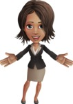 African American female with black coat vector character pack of poses - Kim the Office Lady - Hello
