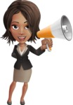 African American female with black coat vector character - Loudspeaker