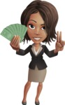 African American female with black coat vector character pack of poses - Kim the Office Lady - Show me the money