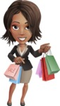 African American female with black coat vector character pack of poses - Kim the Office Lady - Sale