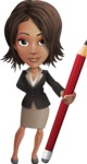African American female with black coat vector character - Pencil