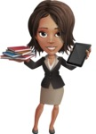 African American female with black coat vector character - Books and iPad